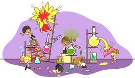 Accident et destruction tandis que travailler de scientifiques d'enfant illustration libre de droits
