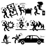 Accident Explosion Danger Risk Pictogram. A set of pictogram representing risk and accident Stock Photo