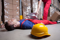 Accident in factory stock photography