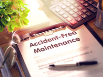 Accident-Free Maintenance - Text on Clipboard. 3D. Stock Images