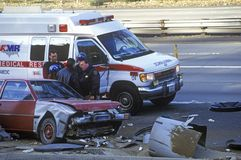 An accident on the freeway near San Francisco, California Stock Images