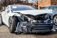 Accident. Frustrated sports car sity accident Royalty Free Stock Image