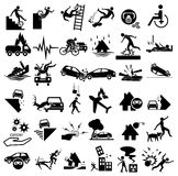 Accident icons set. For insurance bisiness, security symbol Royalty Free Stock Photography