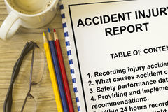Accident injury reporting. Concept- with table of contents lecture cover sheet Royalty Free Stock Photo