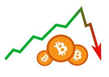 Accident instantané soudain de la valeur de bitcoin Photographie stock