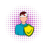 Accident insurance icon, comics style. Accident insurance icon in comics style on a white background. Man with a wound on his head Royalty Free Stock Photography