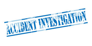 Accident investigation blue stamp. On white background Royalty Free Stock Images
