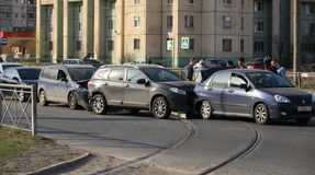 Accident involving four cars at a crosswalk Royalty Free Stock Photography