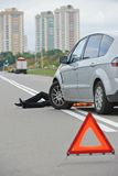 Accident. knocked down pedestrian. Road accident. Knock down pedestrian and upset driver in front of automobile crash car collision royalty free stock photo