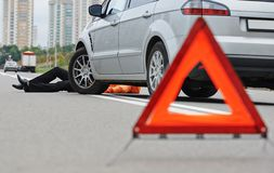 Accident. knocked down pedestrian. Road accident. Knock down pedestrian and upset driver in front of automobile crash car collision stock image