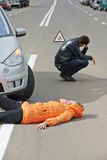 Accident. knocked down pedestrian. Road accident. Knock down pedestrian and upset driver in front of automobile crash car collision royalty free stock photography