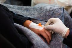 Accident - la victime obtiennent une infusion Photo libre de droits