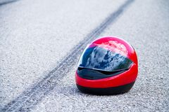 Accident with motorcycle. traffic accident with. An accident with a motorcycle. traffic accident and skid marks on road. symbol photo stock image