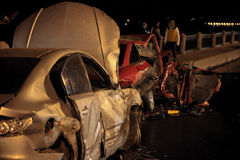 Accident at night road Stock Images