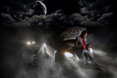 Accident in the night Stock Image