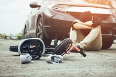 Accident that occurred man who drank alcohol and drunk stress with crash child bike on the ground royalty free stock photography