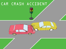 Accident Personal car collided at intersection. With a traffic light on the road. Color vector design Royalty Free Stock Images