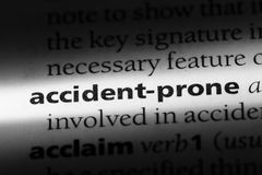 Accident-prone. Word in a dictionary.  concept Royalty Free Stock Photo