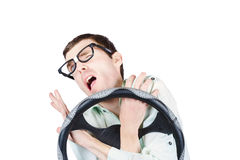 Accident prone man in car crash impact Stock Photos