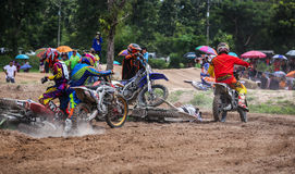 Accident race Moto Cross. Royalty Free Stock Images