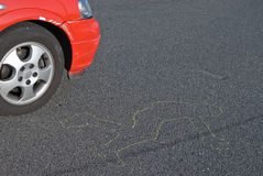 Accident reconstruction. Front of a red car near the outline of a human body on the pavement where a pedestrian was stuck in an auto accident royalty free stock image