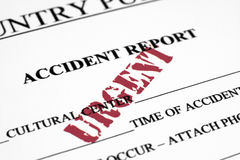 Accident report. Filling out a Accident report  form Stock Photography
