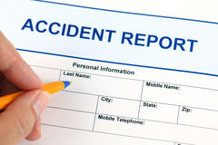 Accident report application form Royalty Free Stock Images