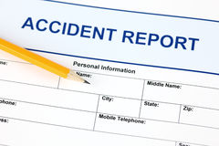 Accident report application form Stock Photography