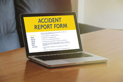 Accident report form in a computer screen Royalty Free Stock Photography