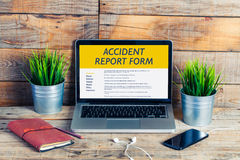 Accident report form in a laptop screen. Royalty Free Stock Photos