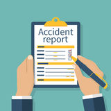 Accident report form. Man write application, pen and clipboard in hand. Template. Vector illustration flat design. Isolated on background Royalty Free Stock Photos