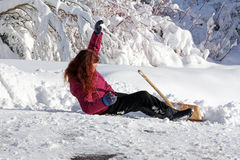 Accident risk when snow shovels. Accident risk when packed snow and snow shovels Royalty Free Stock Images