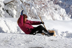 Accident risk when snow shovels. Accident risk when packed snow and snow shovels Stock Photos