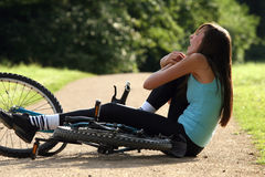 Accident on road with biker Royalty Free Stock Images