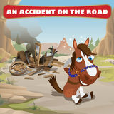 Accident on the road and contused horse Royalty Free Stock Photography