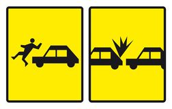 Accident road signs. Road signs warning about accidents. Vector illustration Royalty Free Stock Images