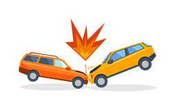 Accident road on street damaged automobiles after collision car crash vector. Stock Image