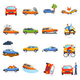 Accident road on street damaged automobiles after collision car crash vector. Accident road situation danger car crash and accident road collision safety Royalty Free Stock Image