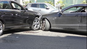 Accident on the road. Two cars crash. London. England. United Kingdom. Transport and roads of the city stock footage