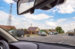 The accident on the road. The view from the car window Stock Photo