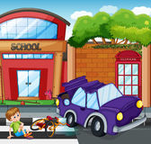 Accident scene with boy getting hurt Royalty Free Stock Photos