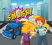 Accident scene with car crash Royalty Free Stock Images