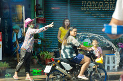 Accident in Songkran, Thailand Stock Photo