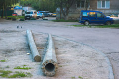 Accident on the street and broken pole Royalty Free Stock Photo