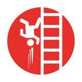 Accident sur l'icône d'assurance d'échelle Photographie stock
