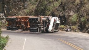 Accident of a Truck. Video footage of a Accident of a Truck in Peru stock footage
