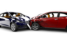 Accident with two cars. Two cars in an accident isolated on a white background Stock Photo