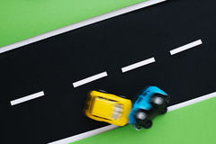 Accident two cars on the children's highway. Royalty Free Stock Photo