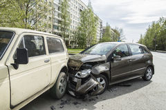 Accident two cars in the early spring morning Stock Images