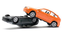 Accident two cars isolated on white background Royalty Free Stock Photography